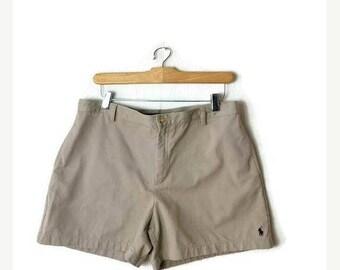 ON SALE Ralph Lauren Simple Beige Cotton Shorts from 90's/W32*