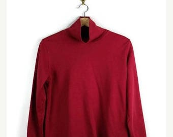 ON SALE Vintage Red High Neck Long sleeve T-shirt from 90's/Land's End