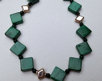 Green malachite and sterling squares necklace and bracelet