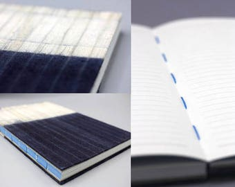 Handmade lined journal-notebook with Hmong Indigo dyed cotton fabric cover A5 size (NB0001)