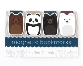 Panda Bookmarks - Magnetic Bookmark Set of 4 - Four Different Bears - Gift for Book Lovers - Gifts for Her - Teen Gift - Polar Bears