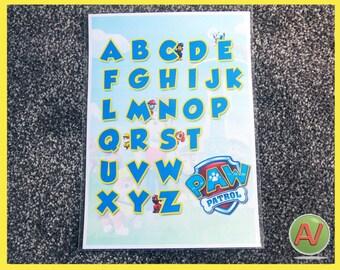 Paw Patrol ABC poster. A4 size.