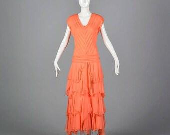 SALE Chiffon Evening Dress Elegant Evening Gown Bias Cut Silk Dress Alternative Wedding Gown Summer Evening Dress