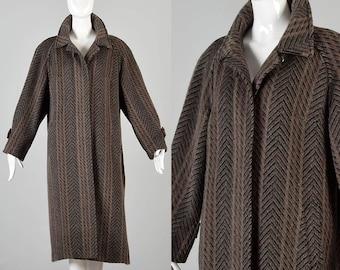 80s Llama Coat Vintage Coat Winter Coat Wide Stripe Striped Herringbone Stripe Heavy Winter Coat Column Coat Vintage Winter Coat XL