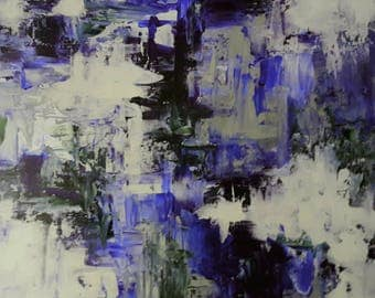 Original Abstract Art Print Giclee Wall Art Blue Purple Silver White Picture Art Wall Decor Picture Wall Hanging by jillsfineart