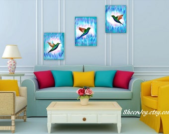 paintings, on, 3 canvases, art, blue, aqua, with, birds, pink, canvas art, wall art, small paintings, painting, gift, small, gifts, triptych