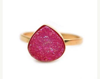 50% OFF Hot Pink Druzy Ring, Gold Ring, Adjustable Band Ring, Statement Ring, Heart Druzy Stone Ring, Modern Ring Gift