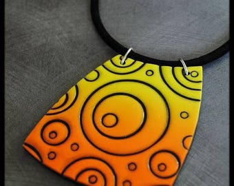 Ombre yellow orange black pendant Black circles pattern