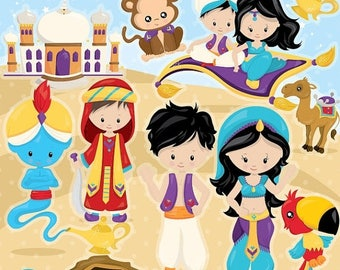 80% OFF SALE Aladdin clipart commercial use, desert princess vector graphics, arabian nights digital clip art, digital images - CL961