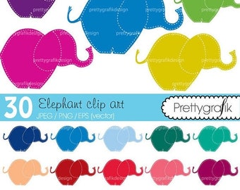 80% OFF SALE 30 elephant clipart commercial use, vector graphics, digital clip art, digital images - CL462