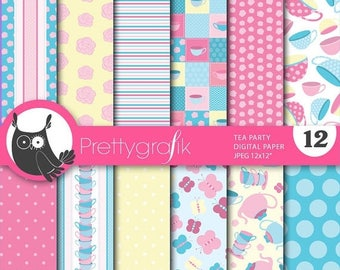 80% OFF SALE Tea party digital paper, commercial use, scrapbook papers, background - PS648
