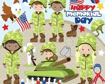 80% OFF SALE Memorial day clipart commercial use, military vector graphics, Patriot digital clip art, army digital images - CL865