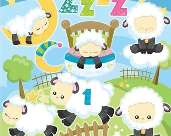 80% OFF SALE Counting Sheep clipart commercial use, rhyme vector graphics, kids poem digital clip art, sheep digital images  - CL937