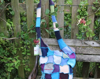 Stylish upcycled patchwork cross body wool bag. Blues and Purples. Recycled wool knitwear. OOAK Lined with Tweed. Handmade in UK