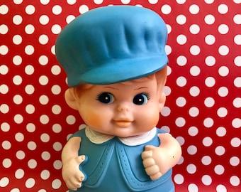 Vintage Rubber Iwai Squeak Toy Doll Kewpie Boy Doll Kitschy Kitsch Vintage  Nursery Mid Century