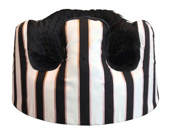 Black and Metallic Pink Stripes Bumbo Seat Cover- You Pick Minky Color