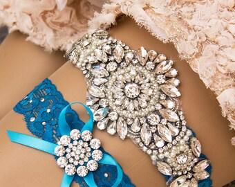 Blue Wedding Garter Set. Blue Lace Garter Set, Lace Wedding Garter, Something Blue, Crystal Garter, Rhinestone Garter, Personalized Garter