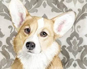 Corgi Painting, Corgi Painting, Corgi Watercolor, Corgi Art, Dog Art, Dog Painting, Corgi Print, Corgi, Dog Decor