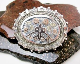 Antique Love Token Heirloom Brooch Locket Style Sterling & 9K Gold Hallmarked Pin 1890s Victorian Pin Maker's Mark A.J.S. Sweetheart Jewelry