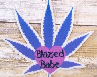Blazed Babe Purple Pot Leaf Iron On Patch MTCoffinz