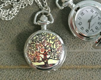 Tree Of Life Pocket Watch Necklace, Silver Watch Necklace, Watch Really Works, Small face,  Timepiece Necklace, Many other styles available!