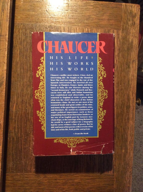 Chaucer, vintage Chaucer, his life, his works, his world Chaucer by Donald R. Howard, first edition 1987, vintage book collector, gift ideas