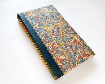 art journal, book, re-purposed book, drawing paper, blue, yellow, red, vintage, vintage book, marbled, bullet journal, sketch book,
