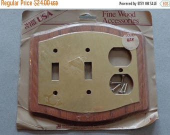 JMC solid Oak and Metal wood Combo Plate double Switch plus Outlet Cover Vintage Decorator Switchplate NOS New Old Stock
