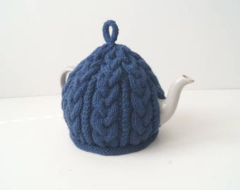 Knitted Royal Blue Tea Cozy Cover - BAILEY