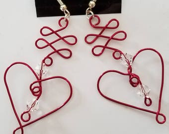 Hand Formed Heart Shaped Chandelier Earrings with Swarovski Crystals One of a Kind