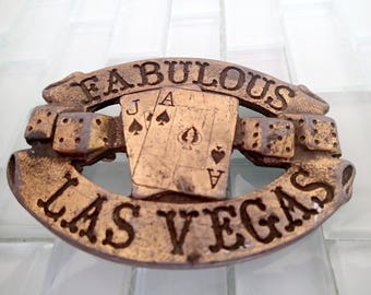 "Brass Las Vegas Belt Buckle 1976 - VERY Heavy - ""Fabulous Las Vegas"" Blackjack Dice Gambling"