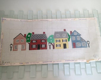 "Neighborhood Needlepoint Canvas LARGE Houses signed KRIS 14 count 15x4"""