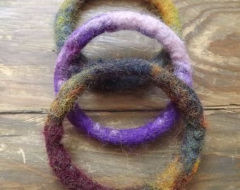 Set of Three Hand Felted Bangles made from natural wool - 'Rustic'