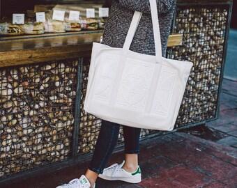 Oversized white shoulder bag / non leather handbag / designer handbag / white PVC handbag / standout statement bag / embossed print in vinyl