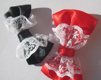 2 big bows fabric and lace 5.5 cm long approx (A221)