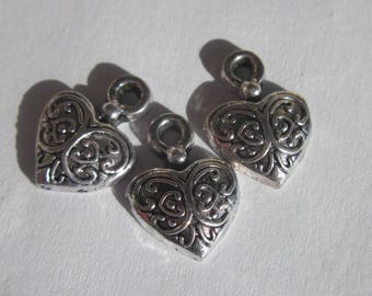 3 charms heart shaped silver 14 mm-(6203)