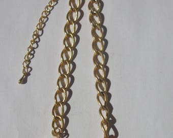 colored metal chain gold plated clasp, 20cm + 2-(PV27-8) glass beads