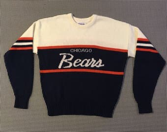 1980's, Cliff Engle, Chicago Bears, sweater, in white, with navy and orange, Men's size Large