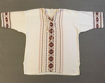 Lace neck, woven, Guatemalan top, in white and browns, Men's size Medium, Women's size Large