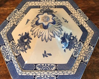 Adams Juliet Vintage Blue Transferware Octagon Covered Serving Bowl