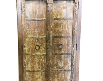 Antique Almirah Old Doors Rustic Furniture Iron Storage Cabinet Vintage Shabby Chic Decor FREE SHIP Early Black Friday