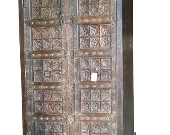 Antique Wardrobe Armoire Lotus Floral Carved Doors Indian Furniture Storage Cabinet NATURAL WOOD Indian Decor Festive Season