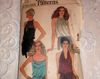 MAKERSALE Vintage 70's Vogue Chic Halter Camisole Top Pattern sz 8
