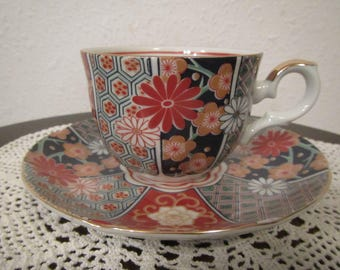 Japan Tea Cup and Saucer , multi design with flowers,  Painted *  Japan,  ( C-10 )