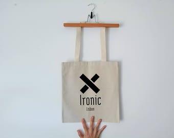Tote Bag - Screenprint Over Cotton Canvas Tote Bag Ironic