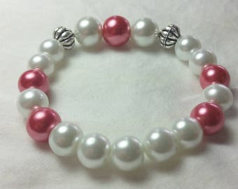 Silver n Pink Valentine Bracelet