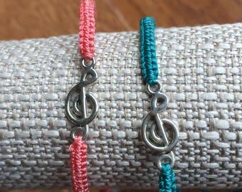 Small Silver Treble Clef Bracelet