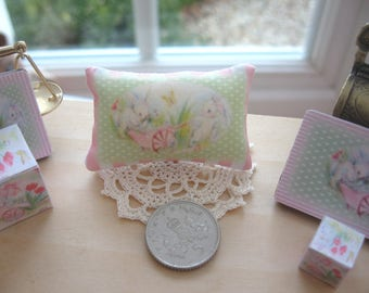 dollhouse bunny pillow cushion easter nursery shop chair bed cot  12th scale miniature