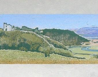 Pennard Castle, Three Cliffs Bay, Ltd Edition linocut print