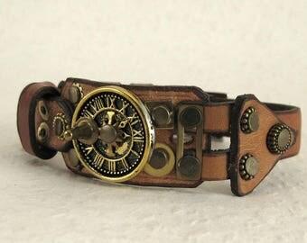 416 Steampunk Sundial Burning Man Boho Industrial Bracelet